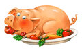 Funny pig lies on a plate Royalty Free Stock Images
