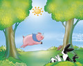 Funny pig and rabbit Royalty Free Stock Image