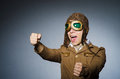 Funny pilot with goggles and helmet Stock Image