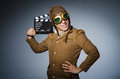 Funny pilot with goggles and helmet Stock Images