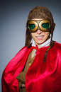 Funny pilot with goggles and helmet Royalty Free Stock Images