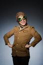 Funny pilot with goggles and helmet Royalty Free Stock Image