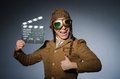 Funny pilot with goggles and helmet Stock Photos