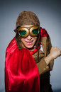 Funny pilot with goggles and helmet Royalty Free Stock Photography