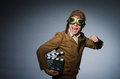 Funny pilot with goggles and helmet Royalty Free Stock Photo