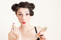 Funny pin up girl and red lipstick Royalty Free Stock Photo