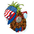 Funny pineapple in cap and glasses. Vector illustration for greeting card, poster, or print on clothes.
