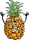 Funny pineapple fruit cartoon illustration of food comic character Royalty Free Stock Images
