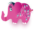 Funny pink elephant on white Royalty Free Stock Photography