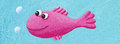 Funny pink fish acrylic illustration of Royalty Free Stock Photos