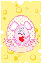 Funny pink mouse holds a heart valentine s day card design Stock Photo