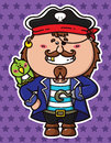 Funny pirate and parrot vector illustration of kawaii with a on his shoulder Royalty Free Stock Photos