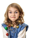 Funny playful girl with christmas decorations portrait little magical shiny around her neck isolated on white Royalty Free Stock Images