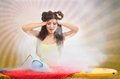 Funny portrait of a ironing girl looking at the hot flat iron rays background Royalty Free Stock Photos