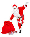 Funny pose of santa claus on white Royalty Free Stock Photography