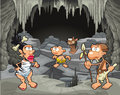 Funny prehistoric family in the cavern cartoon and vector illustration Royalty Free Stock Photography