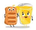 Funny puff pastry and lemonade cartoon characters Royalty Free Stock Photo