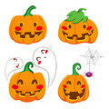 Funny Pumpkin Faces Stock Photos