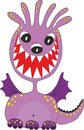 Funny purple cartoon monster with teethy smile and wings Stock Images