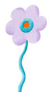 Funny purple flower acrylic illustration of Royalty Free Stock Photo
