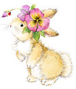 Funny rabbit and flower watercolor illustration. Royalty Free Stock Photo