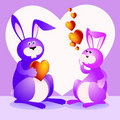 Funny rabbits lovers Royalty Free Stock Image