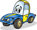 Funny racing car cartoon illustration of vehicle comic mascot character Stock Image