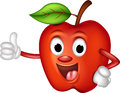 Funny red apple thumbs up Stock Photos