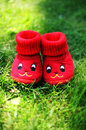 Funny red booties Stock Photos