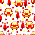 Funny Red Cars and Motobikes Seamless Patterns Isolated on White