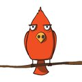 Funny Red Cartoon Bird. Vector...