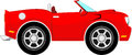 Funny red convertible car isolated on white background Stock Photos