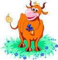 Funny red cow Stock Photo
