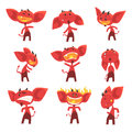 Funny red devil cartoon characters with different emotions set of vector Illustrations