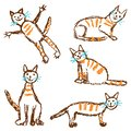 Funny red tabby cat set. Wax crayon like child`s hand drawn cute kitten clip art.