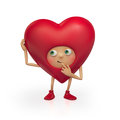 Funny red Valentine heart cartoon thinking Stock Photography
