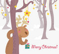 Funny reideer christmas greetings card Royalty Free Stock Photography