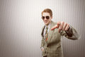 Funny retro businessman pointing his finger you Stock Photos