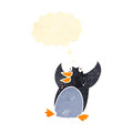 Funny retro cartoon penguin Stock Photos