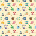 Funny retro cartoon phone seamless pattern Royalty Free Stock Photography