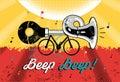 Funny retro grunge poster Beep Beep! Bike with klaxon. Vector illustration. Royalty Free Stock Photo