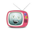 Funny retro tv alive and smiling telly Stock Photo