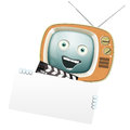 Funny retro tv and clapper movies series Stock Photo
