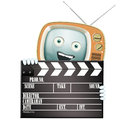 Funny retro tv and clapper movies series Stock Photos