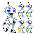 Funny robot cartoon and vector isolated characters Stock Photography