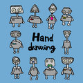 Funny robot hand drawing Stock Images