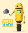 Funny robot waiter, cute character. Vector cartoon illustration