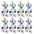 Funny robots cartoon and vector isolated characters Royalty Free Stock Photos