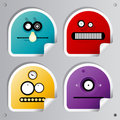 Funny Robots stickers. Royalty Free Stock Photos