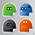 Funny Robots stickers. Stock Photo